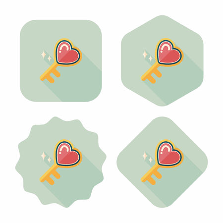 key in lock: Valentines Day lover key lock flat icon with long shadow,eps10
