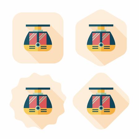 streetcar: icono plana tranv�a con una larga sombra, eps10