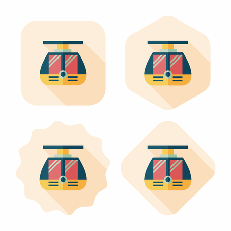 tramcar: tram flat icon with long shadow,eps10