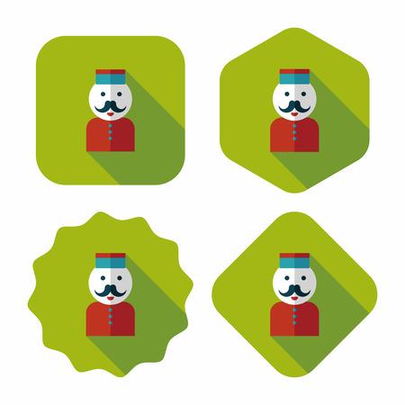 bellhop: Icono plana botones del hotel con una larga sombra, eps10 Vectores