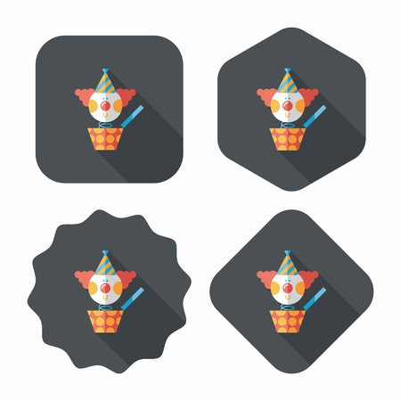 Jack in the box flat icon with long shadow,eps10 Vector