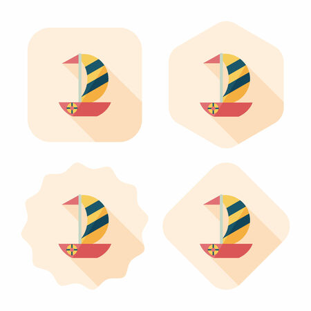 Sailboat flat icon with long shadow,eps10 Vector