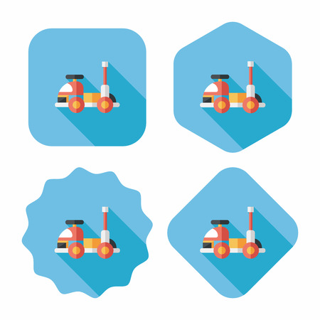 toy car flat icon with long shadow,eps10 Vector