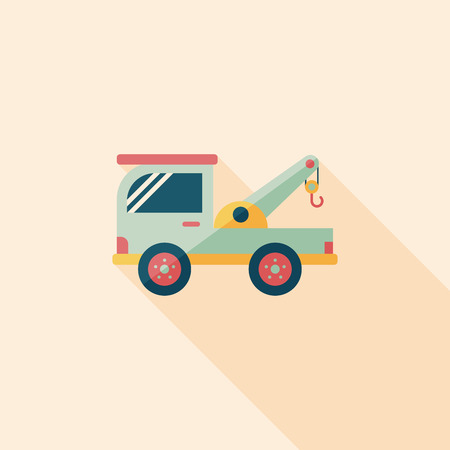 the wrecker: Transportation Tow Truck flat icon with long shadow,eps10 Illustration