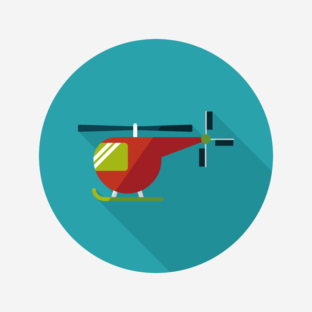 helicopter rescue: Transportation helicopter flat icon with long shadow,eps10