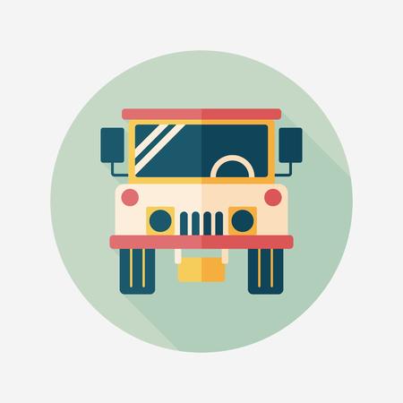 hummer: Transportation hammer flat icon with long shadow,eps10 Illustration