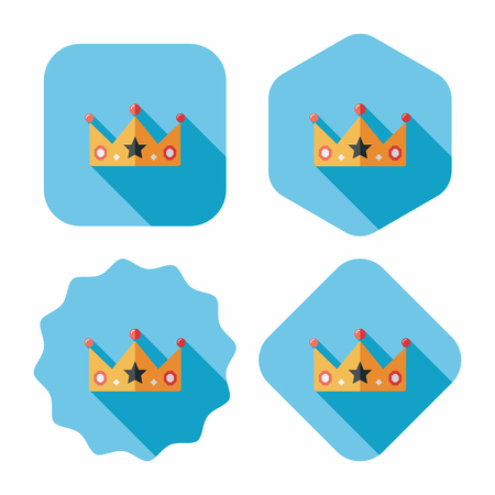 aristocracy: crown flat icon with long shadow,eps10 Illustration