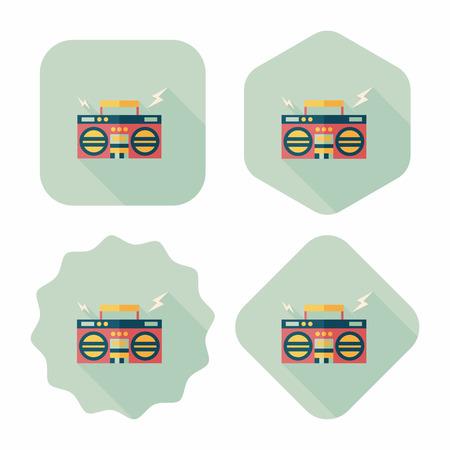 ghetto: ghetto blaster audio icona piatto con una lunga ombra, eps10 Vettoriali