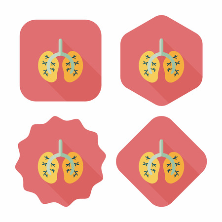 bronchiole: Lungs flat icon with long shadow Illustration