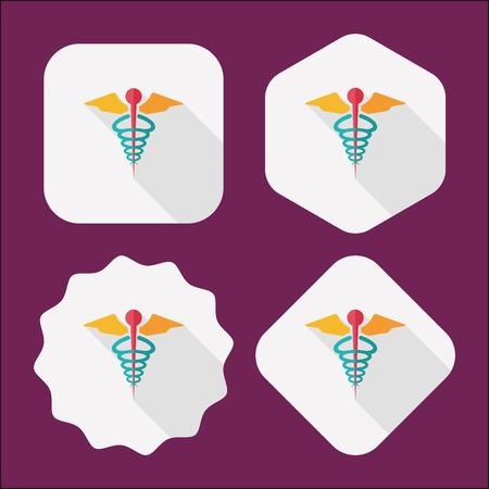 simbolo medicina: icono plana m�dico con larga sombra
