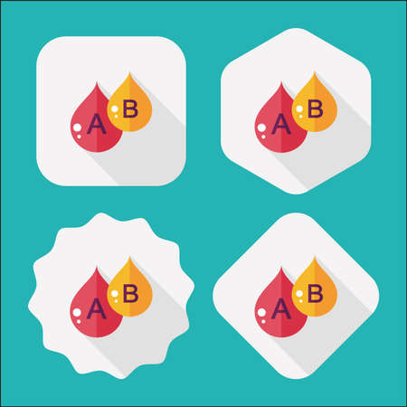 blood transfusion: blood flat icon with long shadow Illustration