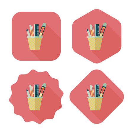 holder: Pen Holder flat icon with long shadow,eps10