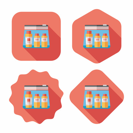 cosmetics containers flat icon with long shadow Vector