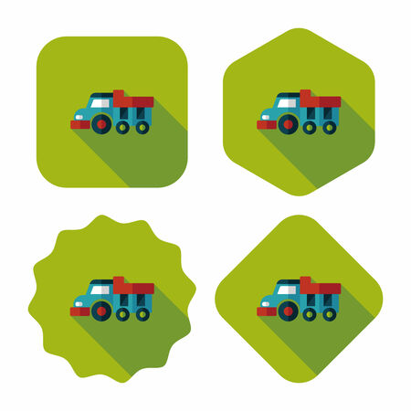 earth moving: Dump truck flat icon with long shadow,eps10