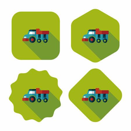 earth moving: Icono plana carro de descarga con una larga sombra, eps10