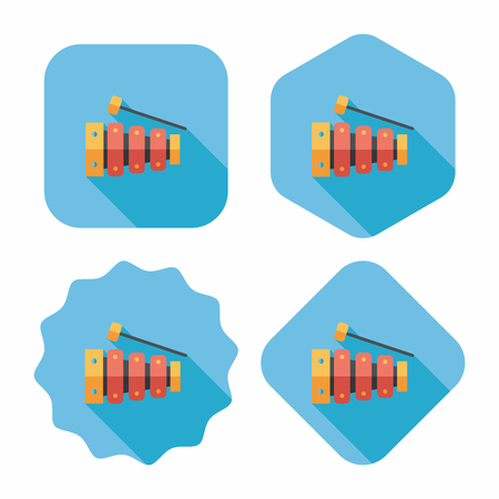 mallet: Xylophone flat icon with long shadow,eps10