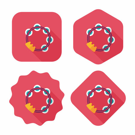 tambourine: tambourine flat icon with long shadow