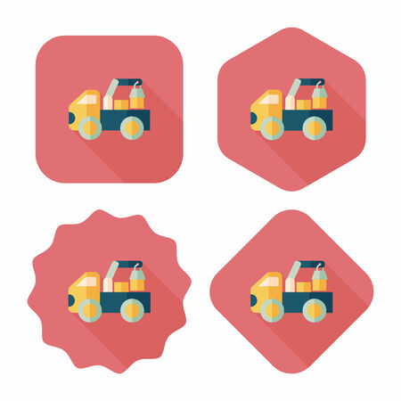 heavy load: truck flat icon with long shadow,eps10 Illustration