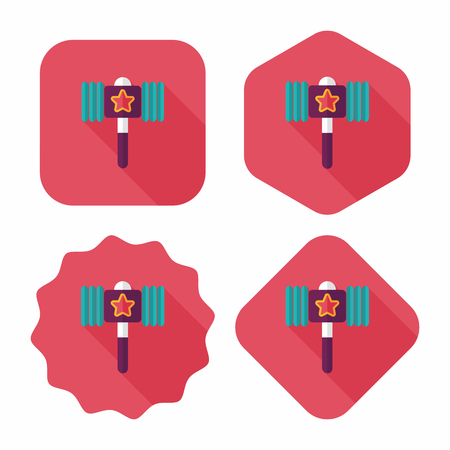 mallet: toy hammer flat icon with long shadow,eps10 Illustration