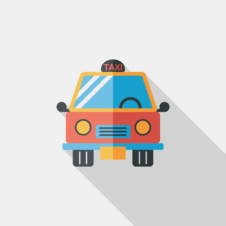 Transportation taxi flat icon with long shadow,eps10 Vector