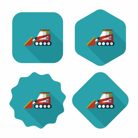 digging: Transportation bulldozer flat icon with long shadow,eps10