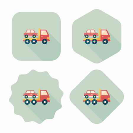 Transportation truck flat icon with long shadow,eps10 Vectores