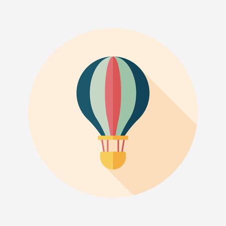 긴 그림자, EPS10와 교통 뜨거운 공기 풍선 평면 아이콘 일러스트