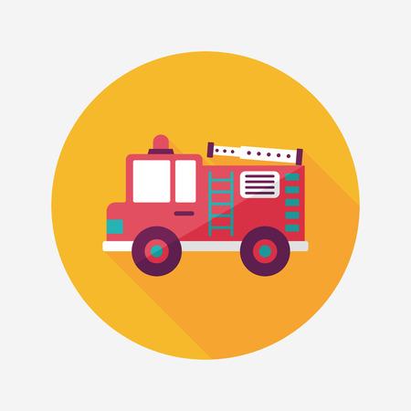 firefighter: Icono plana Transporte Coche de bomberos con una larga sombra, eps10 Vectores