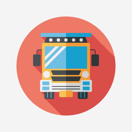 Transportation school bus flat icon with long shadow,eps10 Vector