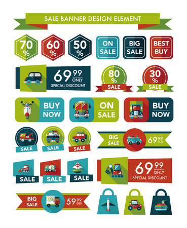 Transportation sale banner flat design background set, eps10 Vector