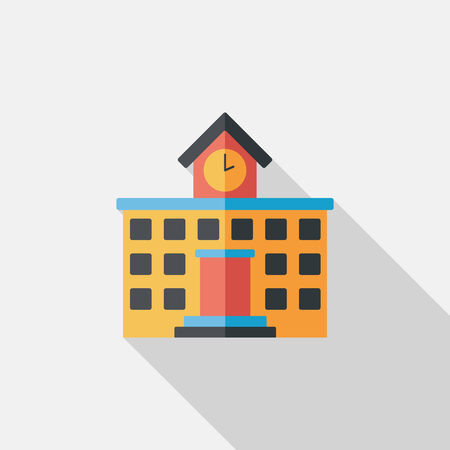 Building school flat icon with long shadow,eps10