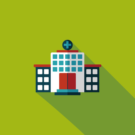 hospitalisation: l'h�pital de construction ic�ne plat avec ombre, eps10
