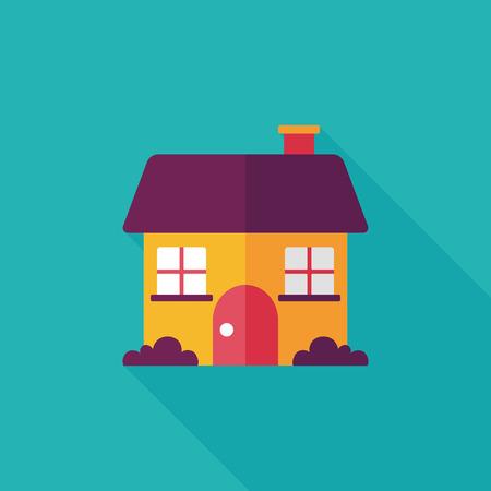 긴 그림자와 함께 집 평면 아이콘을 구축, EPS10 일러스트