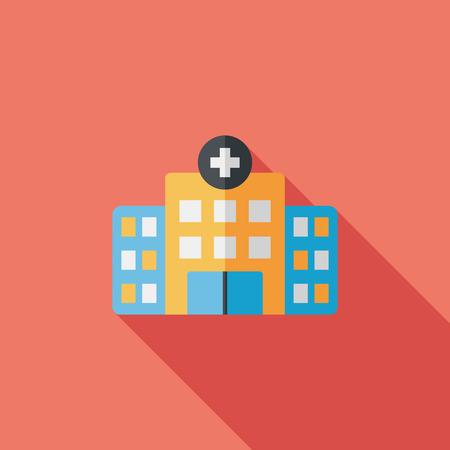 l'hôpital de construction icône plat avec ombre, eps10