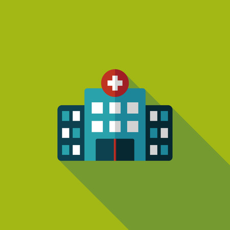 hospitalization: building hospital flat icon with long shadow,eps10