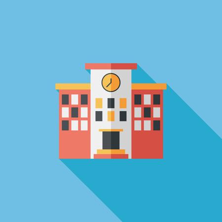 edificio escuela: Icono plana escuela Edificio con larga sombra, eps10