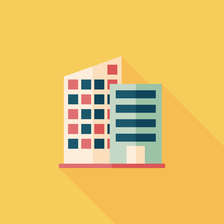 real estate icons: Building flat icon with long shadow,eps10