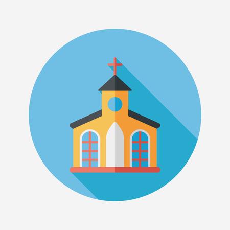 Gebouw kerk plat icoon met lange schaduw, eps10