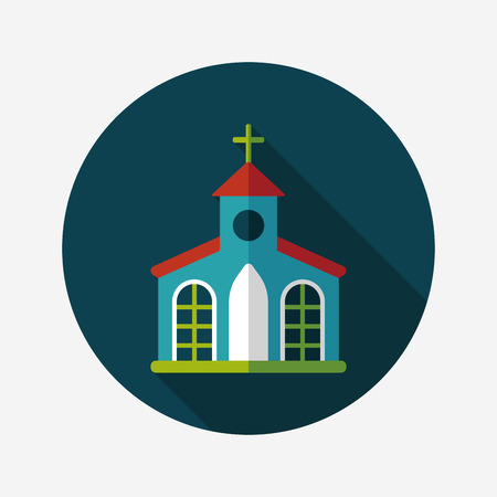 chapel: Building church flat icon with long shadow,eps10