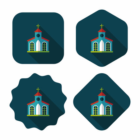 christian community: Building church flat icon with long shadow,eps10