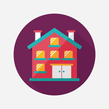 Building apartment flat icon with long shadow,eps10 Vector