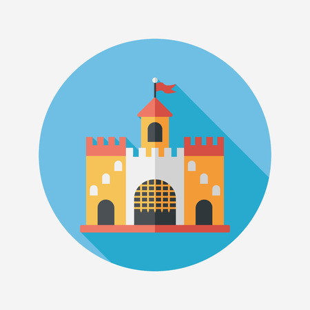 Building castle flat icon with long shadow,eps10 Vector