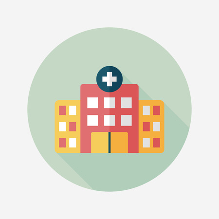 hospital building: building hospital flat icon with long shadow,eps10