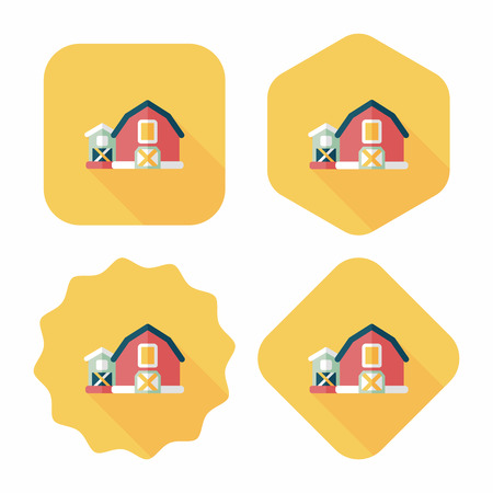 barn flat icon with long shadow,eps10 Vector