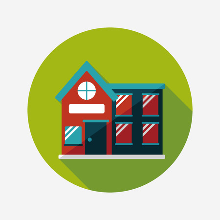 Building house flat icon with long shadow,eps10 Vector