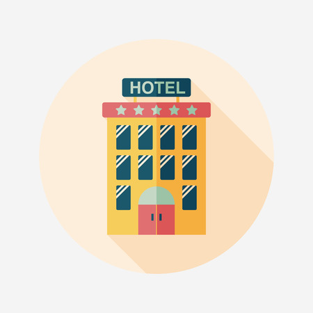 hotel building: Building hotel flat icon with long shadow,eps10 Illustration