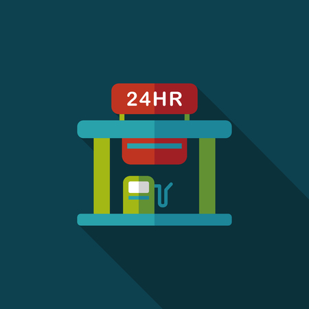 gas station flat icon with long shadow,eps10 Vector