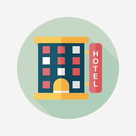 hotel: Building hotel flat icon with long shadow,eps10 Illustration