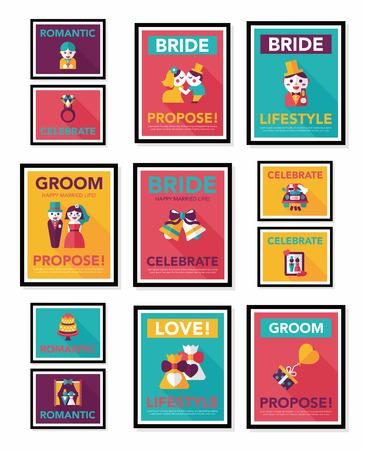 hanging woman: Wedding poster flat design background set, eps10