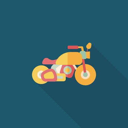 sports icon: Icono plana motocicleta Transporte con una larga sombra, eps10